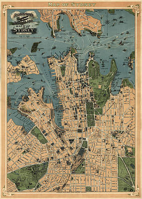 Antique Map Of Sydney Australia - 1922 Art Print by Blue Monocle