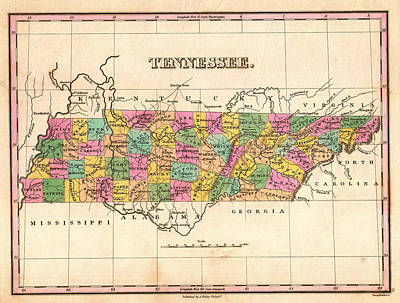 Tennessee Map Drawing - Antique Map Of Tennessee 1827 by Mountain Dreams