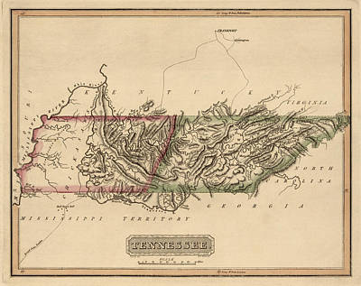 Map Of Tennessee Drawing - Antique Map Of Tennessee By Fielding Lucas - Circa 1817 by Blue Monocle