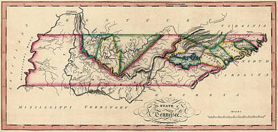 Tennessee Map Drawing - Antique Map Of Tennessee By Samuel Lewis - Circa 1810 by Blue Monocle