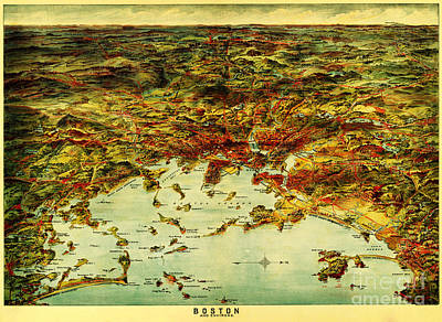 Cartography Painting - Boston Harbor 1905 by Celestial Images