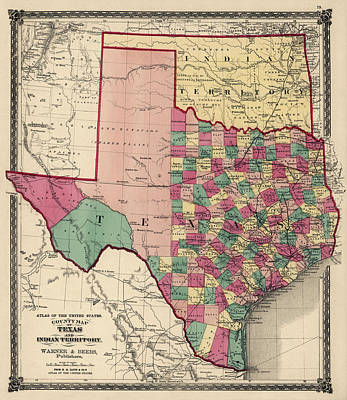 Texas Drawing - Antique Map Of Texas And Oklahoma By H. H. Lloyd And Co. - 1875 by Blue Monocle