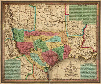 Antique Map Drawing - Antique Map Of Texas By James Hamilton Young - 1835 by Blue Monocle
