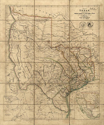 Antique Map Drawing - Antique Map Of Texas By John Arrowsmith - 1841 by Blue Monocle