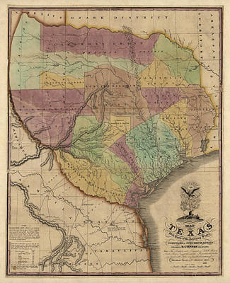 Antique Map Of Texas By Stephen F. Austin - 1837 Art Print