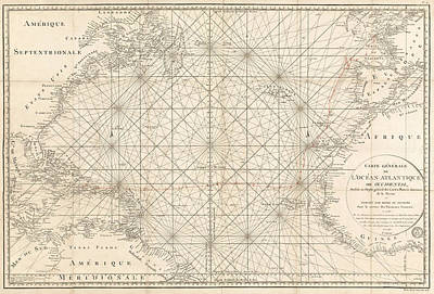 Antique Map Of The Atlantic Ocean - 1792 Art Print by Blue Monocle