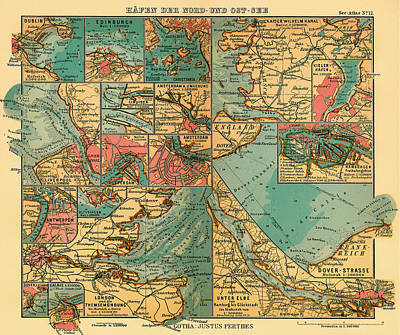 North Sea Drawing - Antique Map Of The Baltic And North Sea Ports  by Mountain Dreams
