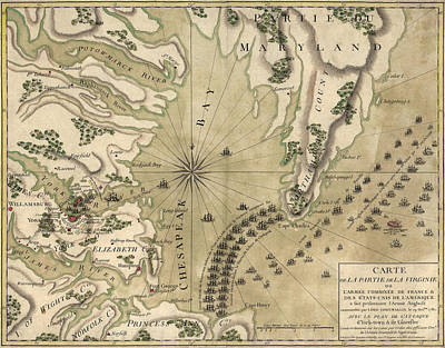 Chesapeake Bay Drawing - Antique Map Of The Battle Of Yorktown Virginia By Esnauts Et Rapilly - Circa 1781 by Blue Monocle