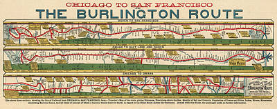 Train Drawing - Antique Map Of The Burlington Route By H. R. Page And Co. - Circa 1879 by Blue Monocle