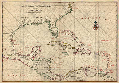 Charts Drawing - Antique Map Of The Caribbean And Central America By Joan Vinckeboons - Circa 1639 by Blue Monocle