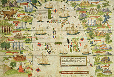 Territorial Painting - Antique Map Of The China Sea by Pedro Reinel
