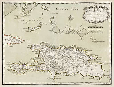 Drawing - Antique Map Of The Dominican Republic And Haiti By Jacques Nicolas Bellin - 1745 by Blue Monocle