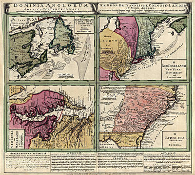 Canada Drawing - Antique Map Of Colonial America By Homann Erben - Circa 1760 by Blue Monocle