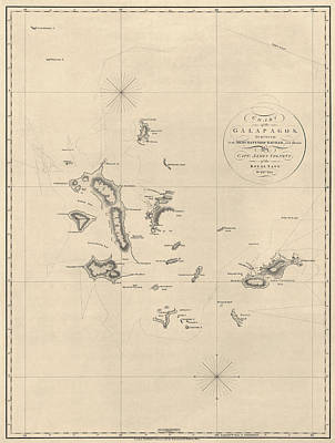 Galapagos Drawing - Antique Map Of The Galapagos Islands By James Colnett - 1798 by Blue Monocle