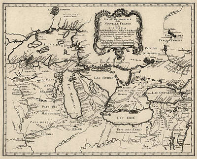 Americas Map Drawing - Antique Map Of The Great Lakes By Jacques Nicolas Bellin - 1755 by Blue Monocle