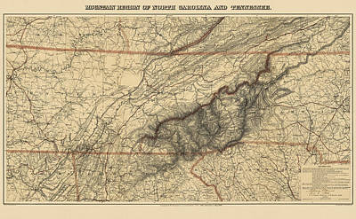 National Drawing - Antique Map Of The Great Smoky Mountains - North Carolina And Tennessee - By W. L. Nickolson - 1864 by Blue Monocle