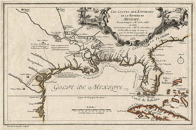 Gulf Coast Wall Art - Drawing - Antique Map Of The Gulf Coast And The Southeast By Nicolas De Fer - 1701 by Blue Monocle