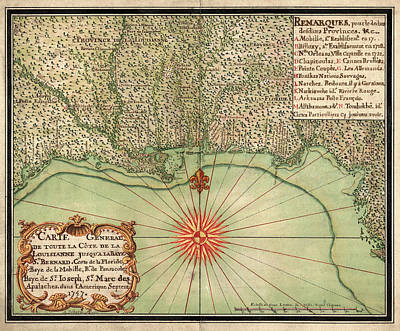 Drawing - Antique Map Of The Gulf Coast By Alexandre De Batz - 1747 by Blue Monocle