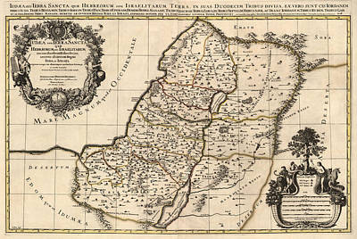 Drawing - Antique Map Of The Holy Land By Alexis Hubert Jaillot - 1696 by Blue Monocle