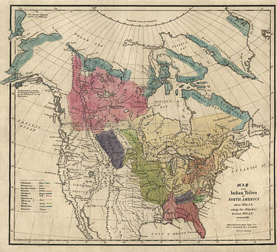 Canada Drawing - Antique Map Of The Indian Tribes Of North America By Albert Gallatin - 1836 by Blue Monocle