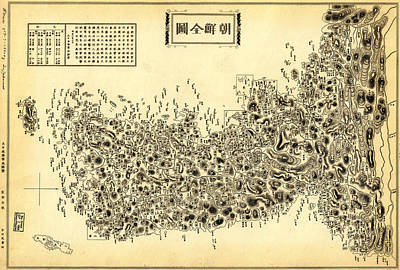 Korean Painting - Antique Map Of The Korean Peninsula 1860 by Celestial Images