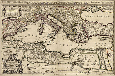Antique Map Of The Mediterranean Region By William Berry - 1685 Art Print