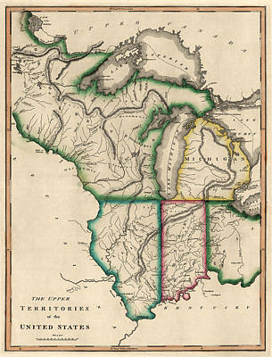 Michigan Drawing - Antique Map Of The Midwest Us By Kneass And Delleker - Circa 1810 by Blue Monocle