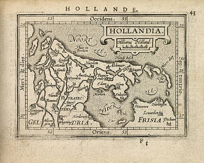 Netherlands Map Drawing - Antique Map Of The Netherlands By Abraham Ortelius - 1603 by Blue Monocle
