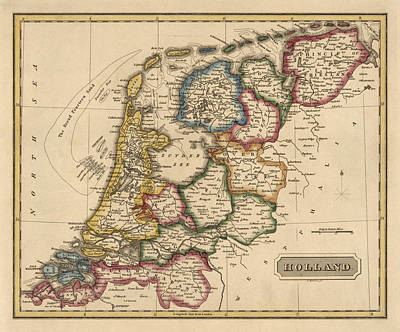 Netherlands Map Drawing - Antique Map Of The Netherlands By Fielding Lucas - Circa 1817 by Blue Monocle