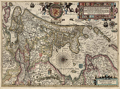 Netherlands Map Drawing - Antique Map Of The Netherlands By Pieter Van Den Keere - 1617 by Blue Monocle