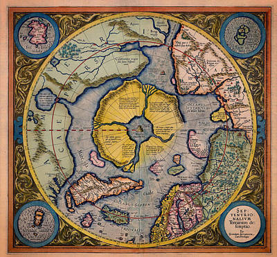 Pole Drawing - Antique Map Of The North Pole 1623 by Mountain Dreams
