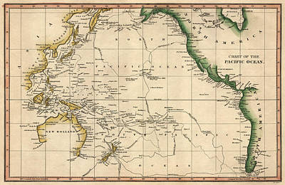 Pacific Drawing - Antique Map Of The Pacific Ocean By Henry Schenck Tanner - Circa 1820 by Blue Monocle