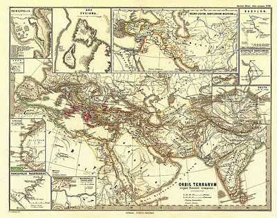 Empire State Drawing - Antique Map Of The Persian Empire by Mountain Dreams
