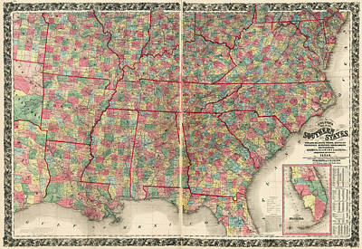 Drawing - Antique Map Of The Southeast Us By Joseph Hutchins Colton - 1861 by Blue Monocle