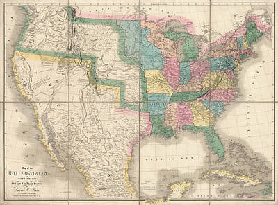 Antique Map Of The United States By David Burr - 1839 Art Print