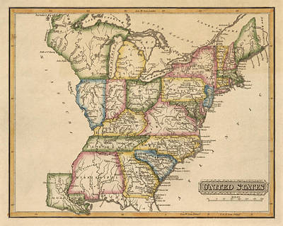 Drawing - Antique Map Of The United States By Fielding Lucas - Circa 1817 by Blue Monocle