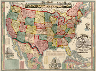 Railroads Drawing - Antique Map Of The United States By Gaylord Watson - 1875 by Blue Monocle