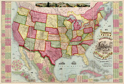 Antique Map Of The United States By Haasis And Lubrecht - 1872 Art Print