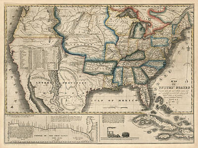 Drawing - Antique Map Of The United States By M. M. Peabody - 1831 by Blue Monocle