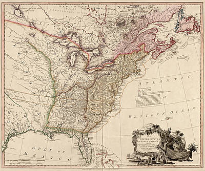 Drawing - Antique Map Of The United States By William Faden - 1793 by Blue Monocle