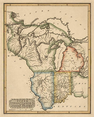 Lake Drawing - Antique Map Of The Upper Midwest Us By Fielding Lucas - Circa 1817 by Blue Monocle