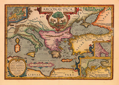 Antique Map Of The Voyage Of The Argonauts 1620 Art Print