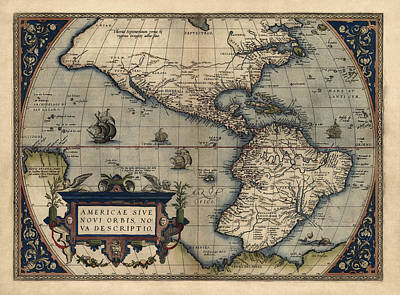 Discoveries Drawing - Antique Map Of The Western Hemisphere By Abraham Ortelius - 1570 by Blue Monocle