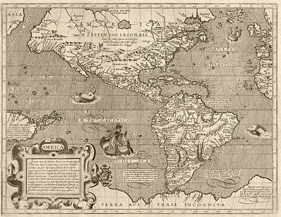 Drawing - Antique Map Of The Western Hemisphere By Arnoldo Di Arnoldi - Circa 1600 by Blue Monocle