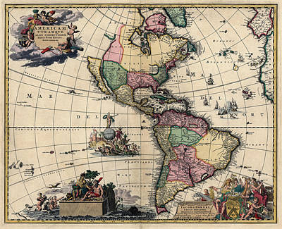Drawing - Antique Map Of The Western Hemisphere By Gerard Van Keulen - Circa 1710 by Blue Monocle