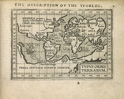Antique Map Of The World By Abraham Ortelius - 1603 Art Print by Blue Monocle