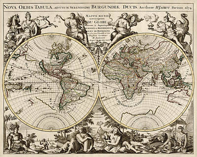 Antique Map Of The World By Alexis Hubert Jaillot - 1694 Art Print by Blue Monocle