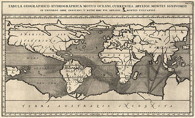 Drawing - Antique Map Of The World By Athanasius Kircher - 1668 by Blue Monocle