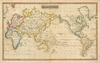 Print Drawing - Antique Map Of The World By Fielding Lucas - Circa 1817 by Blue Monocle