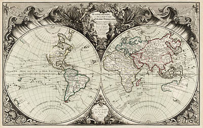 Antique Map Of The World By Gilles Robert De Vaugondy - 1743 Art Print by Blue Monocle
